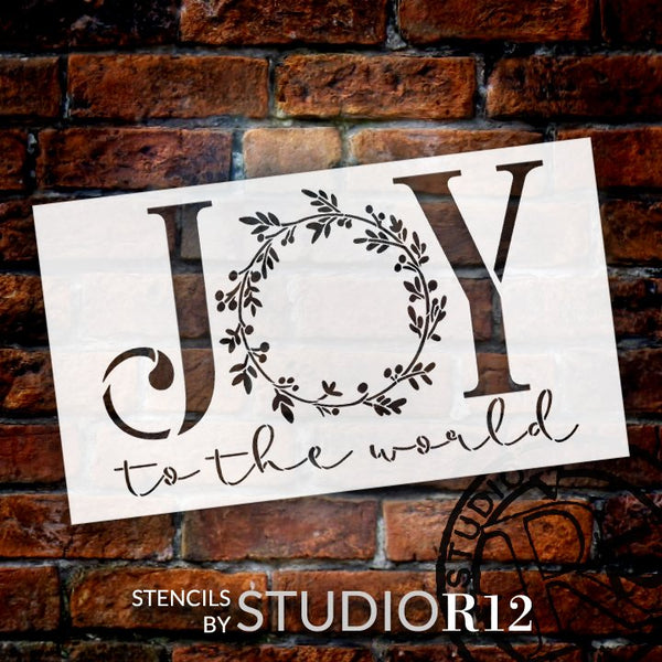 Joy to The World Stencil by StudioR12 | DIY Christmas Mistletoe Wreath Home Decor Gift | Craft & Paint Wood Sign Reusable Mylar Template | Select Size | STCL5160