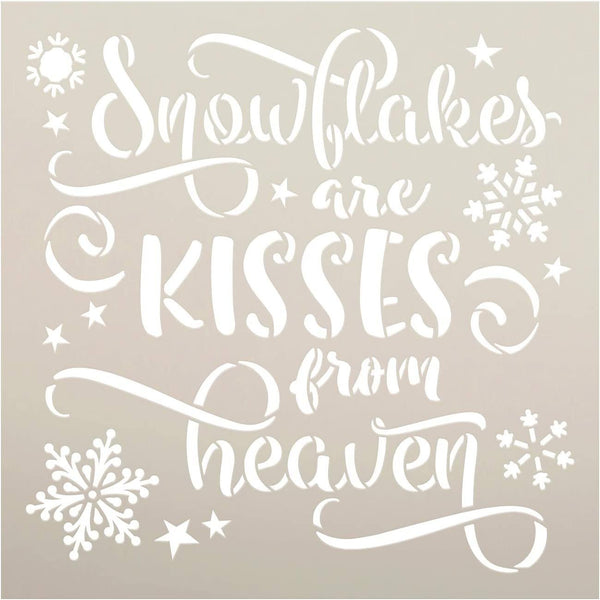 Snowflakes - Kiss from Heaven Stencil by StudioR12 | DIY Christmas Holiday Home Decor | Craft & Paint Wood Sign | Reusable Mylar Template | Winter Cursive Script | Select Size
