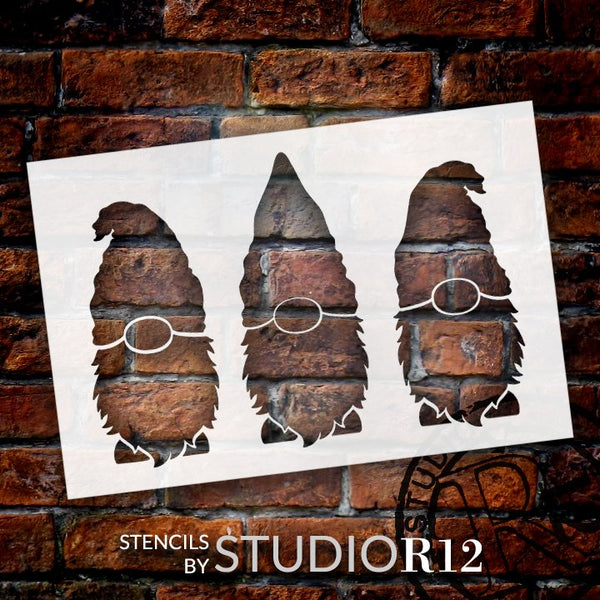 Three Gnomes Stencil by StudioR12 | DIY Seasonal Farmhouse Home Decor | Reusable Gnome Template | Crafting & Painting | Select Size | STCL5596