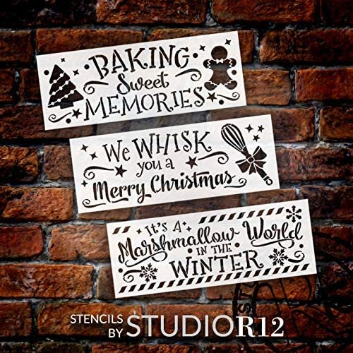 Christmas Kitchen 3-Piece Stencil Set by StudioR12 | DIY Holiday Bake Home Decor Gift | Craft & Paint Wood Sign | Reusable Mylar Templates | CMBN488