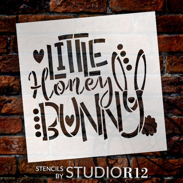 Little Honey Bunny Stencil by StudioR12 | DIY Farmhouse Spring Home Decor | Fun Easter Word Art | Craft & Paint Wood Sign | Select  | STCL5581