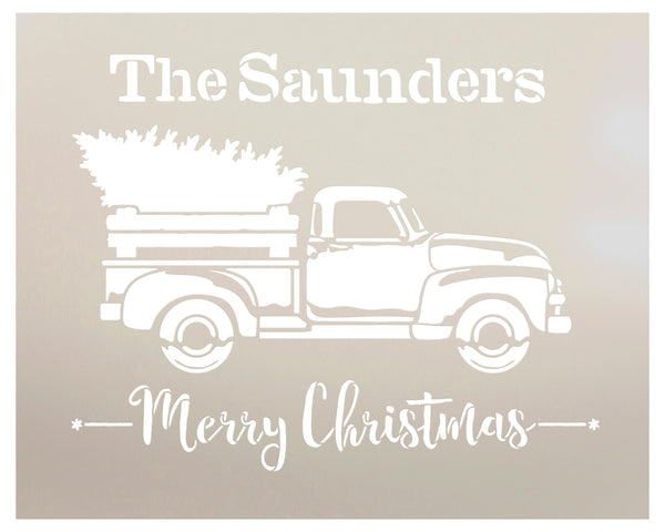 Personalized Merry Christmas Stencil with Red Truck & Tree | Custom Family Name | DIY Holiday Home Decor | Rustic Vintage Word Art | Craft & Paint Wood Signs | Reusable Mylar Template | Select Size