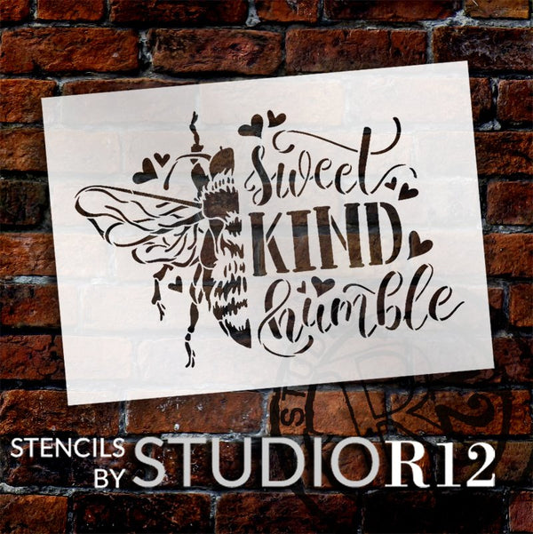 Bee Sweet, Kind, & Humble Stencil by StudioR12 | DIY Inspirational Farmhouse Home Decor | Craft & Paint Wood Signs | Select Size | STCL5595