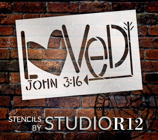 Loved John 3:16 Stencil with Heart & Arrow by StudioR12 | DIY Faith Home Decor | Craft & Paint Valentine's Wood Signs | Select Size | STCL5558