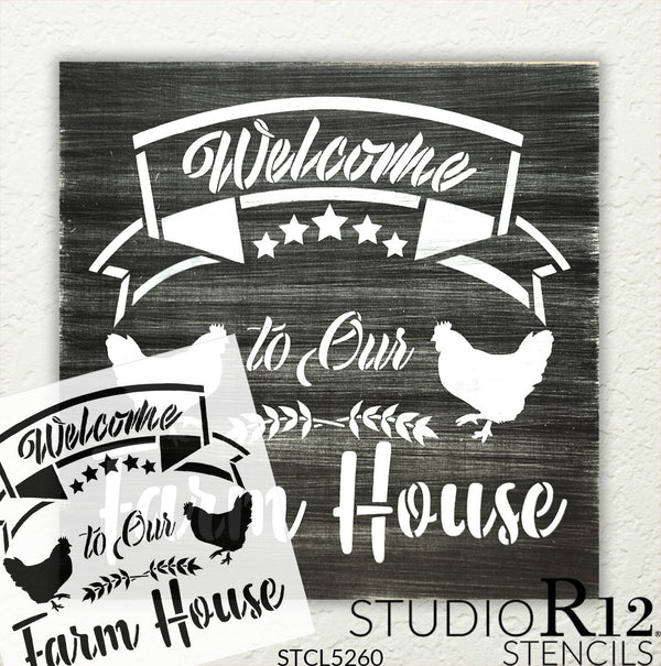 Welcome to Our Farm House Stencil by StudioR12 | DIY Family Star Chicken Home Decor | Craft & Paint Wood Sign | Reusable Mylar Template | Select Size