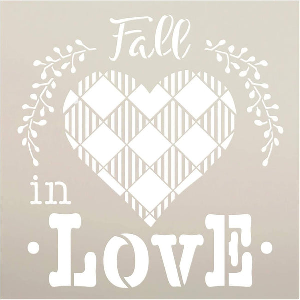 Fall in Love Stencil with Buffalo Plaid by StudioR12 | DIY Autumn Home Decor | Paint Wood Signs | Reusable Mylar Template | Select Size