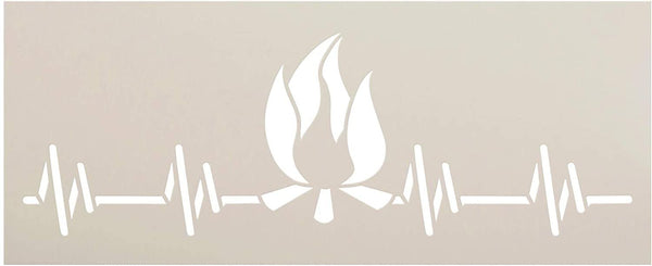 Campfire Heartbeat Pulse Stencil by StudioR12 | DIY Outdoor Adventure Home Decor | Craft & Paint Wood Sign | Reusable Mylar Template | Fun Travel Nature Love| Select Size
