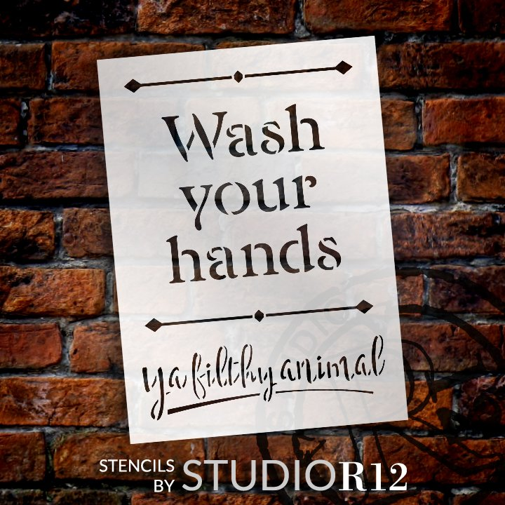 Bathroom,   			                 Country,   			                 Farmhouse,   			                 Fun,   			                 funny,   			                 hand,   			                 Hands,   			                 Home,   			                 Home Decor,   			                 quote,   			                 Quotes,   			                 Saying,   			                 Sayings,   			                 stencil,   			                 Stencils,   			                 StudioR12,   			                 StudioR12 Stencil,   			                 Template,   			                 Wash,