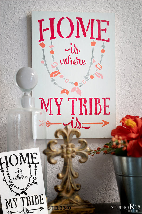 Home is Where My Tribe is Stencil with Arrow by StudioR12 | DIY Tribal Family Boho Home Decor | Embellished Quote Word Art | Paint Wood Signs | Reusable Mylar Template | Select Size | STCL3340