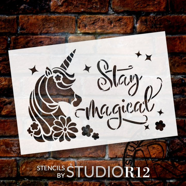 Stay Magical Stencil with Unicorn & Stars by StudioR12 | DIY Children's Bedroom & Nursery Home Decor | Paint Wood Signs | Select Size | STCL5136