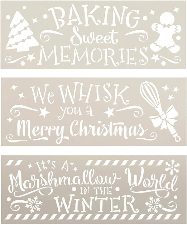 Christmas Kitchen 3-Piece Stencil Set by StudioR12 | DIY Holiday Bake Home Decor Gift | Craft & Paint Wood Sign | Reusable Mylar Templates Select Size