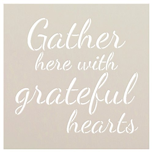 Gather Here with Grateful Hearts Stencil by StudioR12 |Script Style | Reusable Word Template for Painting on Wood | DIY Home Decor Signs |Fall Autumn Inspiration |Mixed Media |Select Size | STCL2450