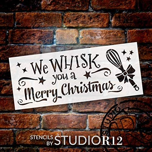 Whisk You A Merry Christmas Stencil by StudioR12 | DIY Holiday Kitchen Cooking Home Decor | Craft & Paint Wood Sign Reusable Mylar Template | Starry Ribbon Bow Select Size