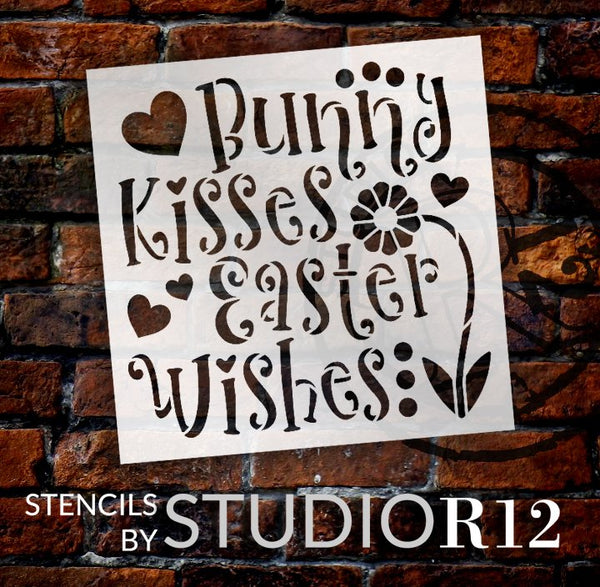 Bunny Kisses Easter Wishes Stencil with Flower & Hearts by StudioR12 | DIY Farmhouse Spring Home Decor | Paint Wood Signs | Select Size | STCL5621
