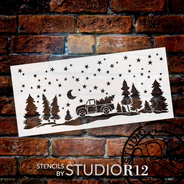 Christmas Starry Night Stencil by StudioR12 | DIY Vintage Truck Fir Tree Home Decor | Craft & Paint Wood Sign | Reusable Mylar Template | Snowy Holiday Gift | Select Size STCL3434