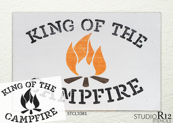 King of The Campfire Stencil by StudioR12 | DIY Camping Home Decor | Paint Wood Signs | Reusable Template | Select Size