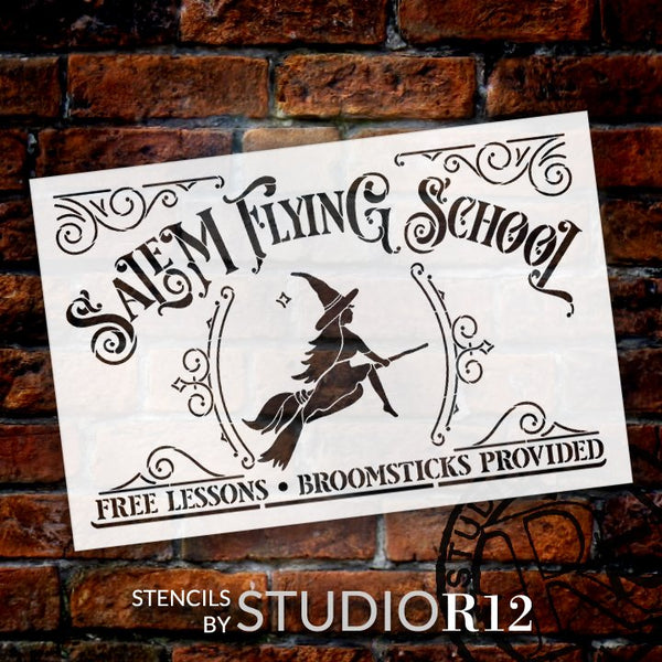 Salem Flying School -Stencil by StudioR12 | DIY Witch Broomstick Halloween Home Decor | Craft & Paint Wood Sign | Reusable Mylar Template | Select Size | STCL5158