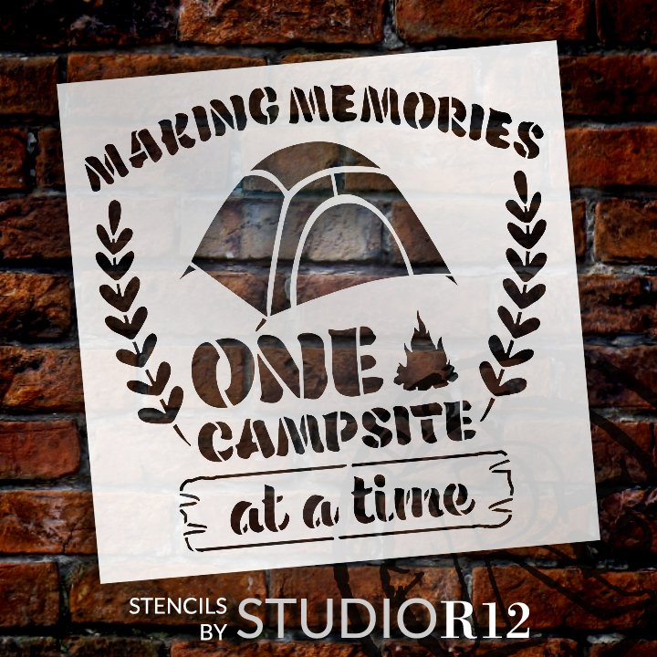 Adventure,   			                 Cabin,   			                 Camp,   			                 camp fire,   			                 camper,   			                 campfire,   			                 campground,   			                 Camping,   			                 Campsite,   			                 Country,   			                 Home Decor,   			                 laurel,   			                 Outdoor,   			                 stencil,   			                 Stencils,   			                 StudioR12,   			                 StudioR12 Stencil,   			                 Summer,   			                 Template,   			                 tent,   			                 Travel,