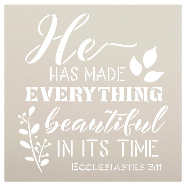 He Has Made Everything Beautiful Stencil by StudioR12 | Ecclesiastes 3:11 Bible Verse Word Art | DIY Faith Home Decor | Select Size STCL5350