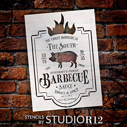 Kentucky Barbecue Sauce Stencil by StudioR12 | DIY Southern BB Kitchen Home Decor | Craft & Paint Wood Sign Reusable Mylar Template Classic Vintage Style Gift SELECT SIZE | STCL3075