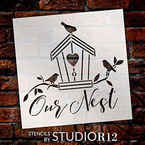Our Nest Stencil by StudioR12 | DIY Country Birdhouse Home Decor | Craft & Paint Wood Sign | Reusable Mylar Template | Cute Family Tree Gift - Living Room - Porch | Select Size | STCL3732
