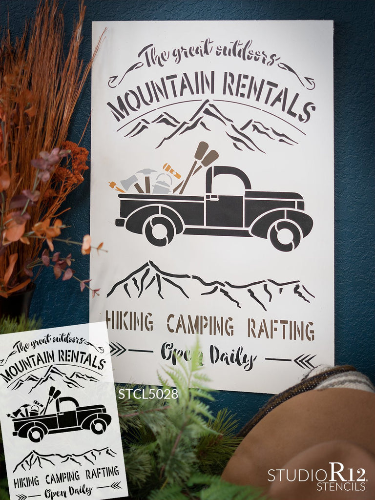 adventure,   			                 cabin,   			                 camping,   			                 canoe,   			                 cottage,   			                 Country,   			                 hiking,   			                 Home,   			                 Home Decor,   			                 hunting,   			                 kayak,   			                 man cave,   			                 mountain,   			                 mountains,   			                 nature,   			                 oars,   			                 outdoor,   			                 rafting,   			                 stencil,   			                 Stencils,   			                 StudioR12,   			                 StudioR12 Stencil,   			                 Template,   			                 truck,   			                 vintage truck,