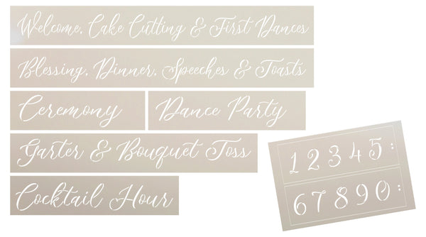 Script Wedding Schedule Stencil Set for Wood Pallet by StudioR12 | DIY Rustic Reception Decor | Craft & Paint Ceremony Sign Decorations | Set of 7