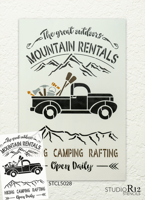 Outdoor Mountain Rentals Stencil by StudioR12 | DIY Hiking & Camping Vintage Truck Home Decor | Paint Country Wood Signs | Select Size