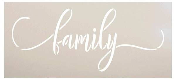 Family Script Stencil by StudioR12 | DIY Modern Country Farmhouse Home Decor | Simple Rustic Cursive Word Art | Craft & Paint Wood Sign | Reusable Mylar Template | Select Size