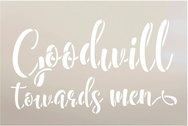 Goodwill Towards Men Stencil by StudioR12 | DIY Christmas Holiday Farmhouse Decor Gift | Craft & Paint Wood Sign Reusable Mylar Template | Select Size