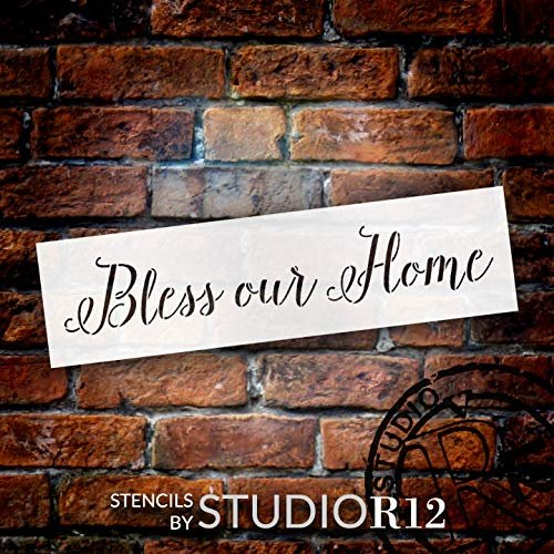 Bless Our Home Stencil by StudioR12 | Cursive Script | Reusable Mylar Template | Paint Wood Sign | Craft Faith Home Wall Decor | Rustic DIY Shabby Chic Farmhouse Family Gift | Select Size