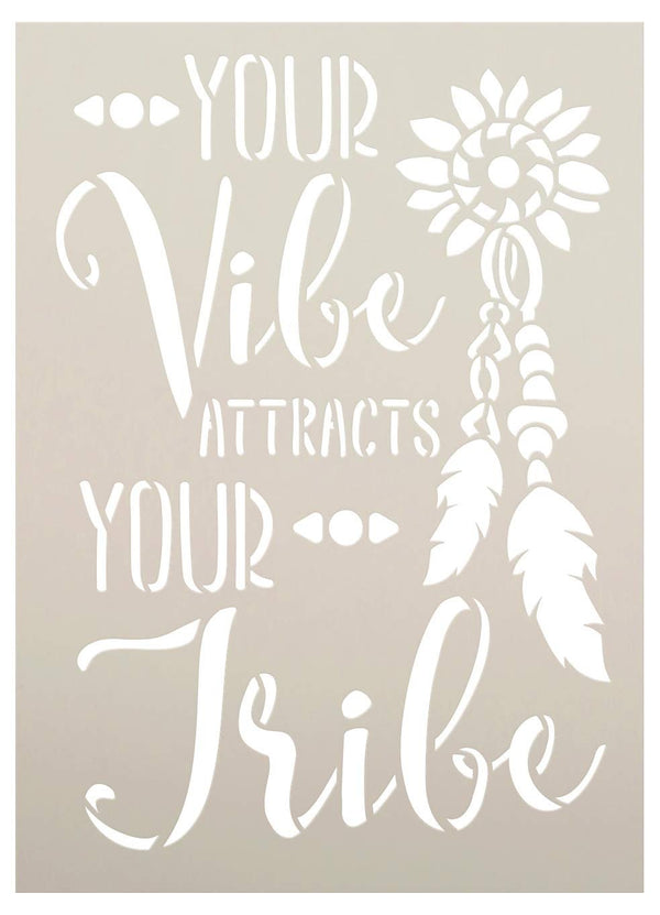 Your Vibe Attracts Your Tribe Stencil with Feathers by StudioR12 | DIY Boho Embellished Home Decor | Tribal Script Word Art | Paint Wood Sign | Reusable Mylar Template | Select Size