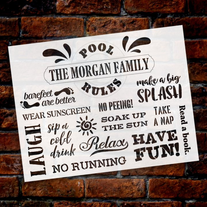 custom,   			                 Family,   			                 Home,   			                 Home Decor,   			                 Outdoor,   			                 outside,   			                 Patio,   			                 Personalized,   			                 Pool,   			                 Porch,   			                 porch sign,   			                 rules,   			                 stencil,   			                 Stencils,   			                 StudioR12,   			                 StudioR12 Stencil,   			                 Summer,   			                 Template,