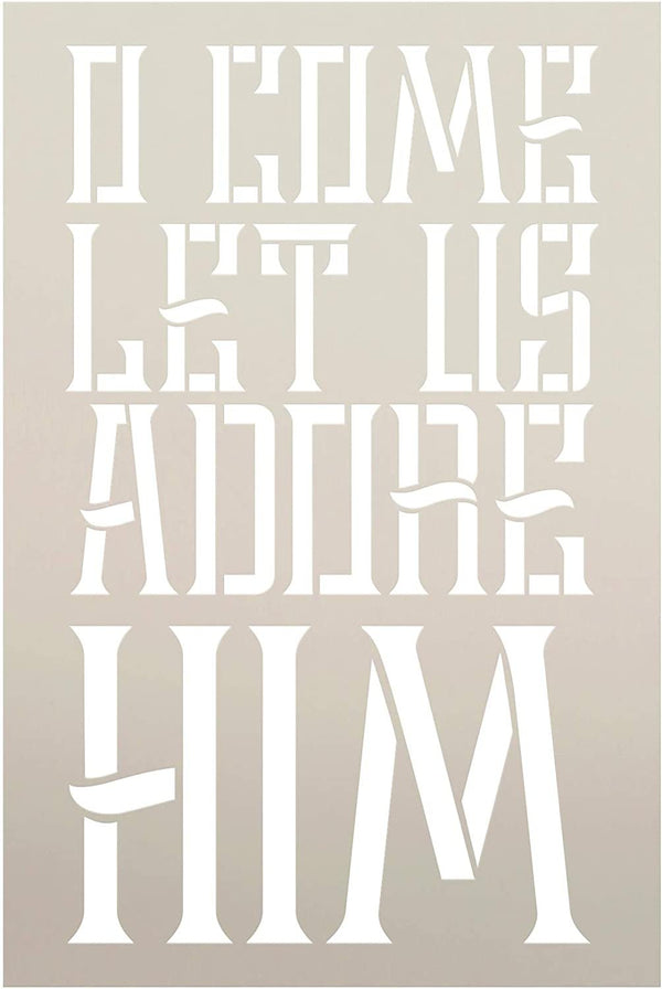 Let Us Adore Him Stencil by StudioR12 | DIY Rustic Christmas Holiday Home Decor Gift | Craft & Paint Wood Sign | Reusable Mylar Template | Select Size