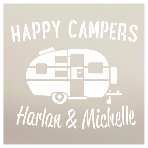 Personalized Happy Campers Stencil | Custom First or Last Names | DIY Fun Retro Camping Decor | Family Outdoor Vintage Word Art | Craft & Paint Wood Signs | Reusable Mylar Template | Select Size