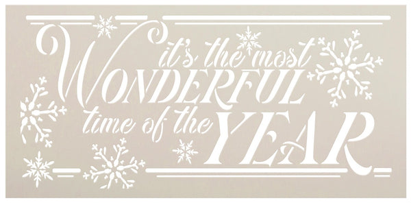 Most Wonderful Time Stencil by StudioR12 | DIY Christmas Holiday Snowflake Home Decor | Craft & Paint Wood Sign Reusable Mylar Template | Select Size