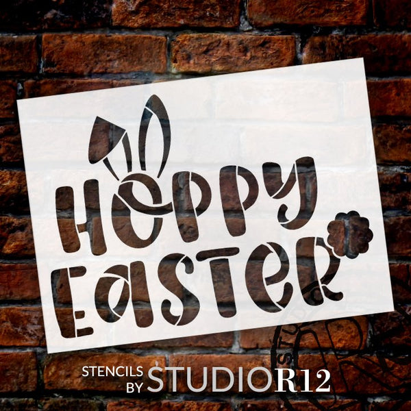 Hoppy Easter Stencil with Bunny Ears by StudioR12 | DIY Fun Spring Home Decor | Craft & Paint Farmhouse Wood Signs | Select Size | STCL5612