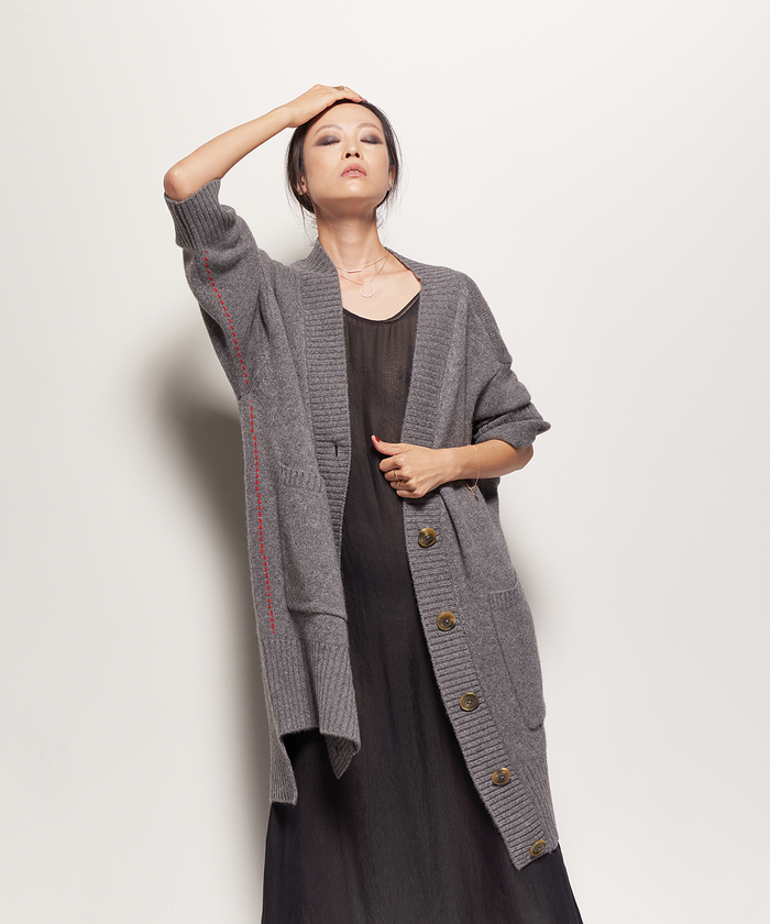 HEATHER GREY SWEATER COAT