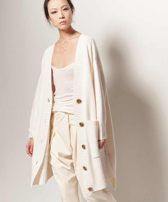 IVORY SWEATER COAT