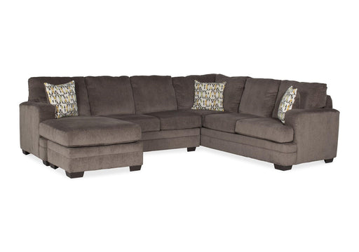 Hillel Pewter Gray Cloth Sectional Sofa with Chaise Lounge