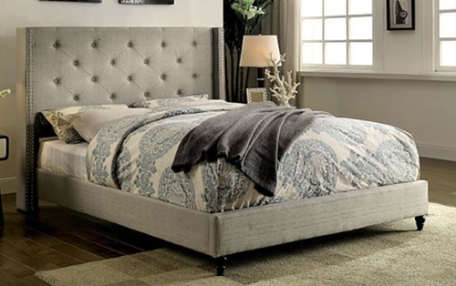 Annabel Linen Upholstered Button-tufted Platform Bed - @ARFurnitureMart