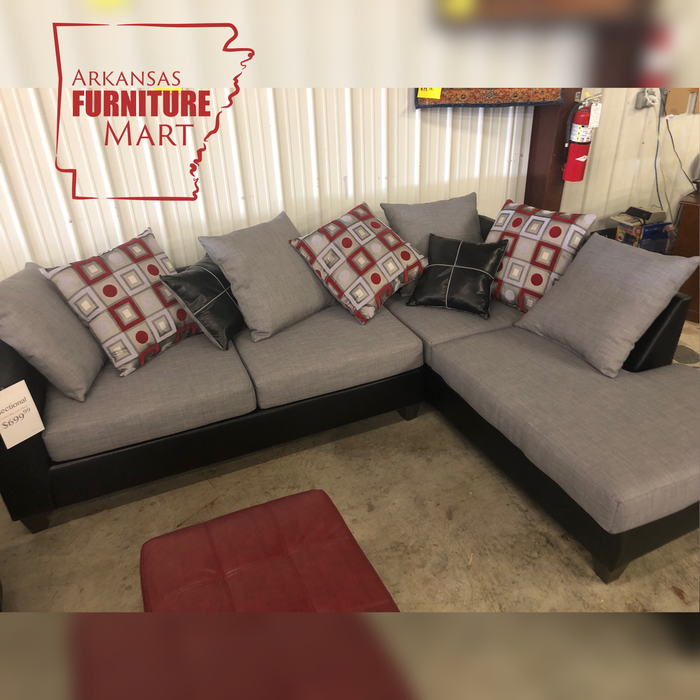 Anderson Gray Sectional with Red and Black Accent Pillows - @ARFurnitureMart
