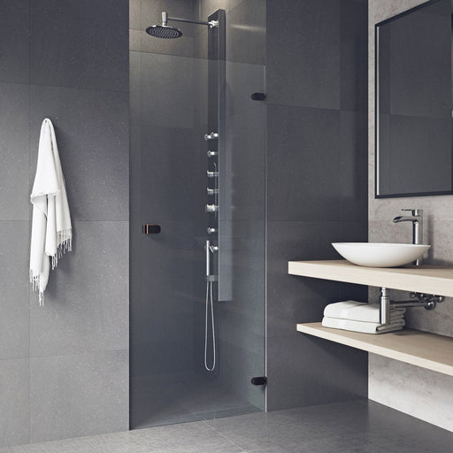 VIGO Tempo 28 to 28.5-in. Adjustable Frameless Shower Door with .3125-in. Clear Glass and Antique Rubbed Bronze Hardware