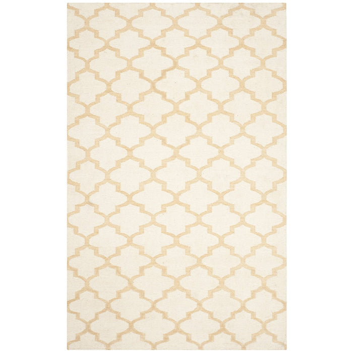 Safavieh Dhurries Collection DHU117A Hand Woven Ivory and Gold Wool Square Area Rug - @ARFurnitureMart