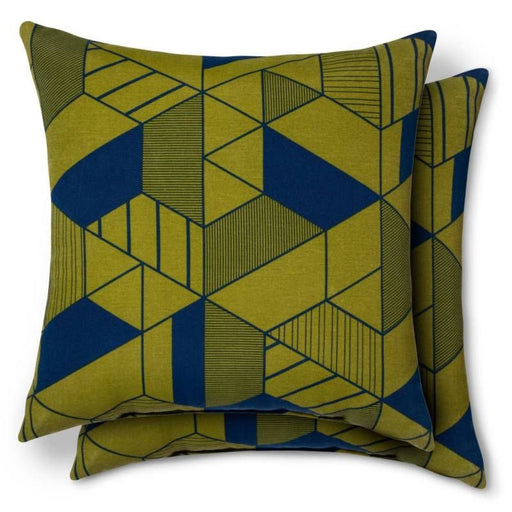 Geo Pillow Green, Geometric Outdoor Pillow by Dwell