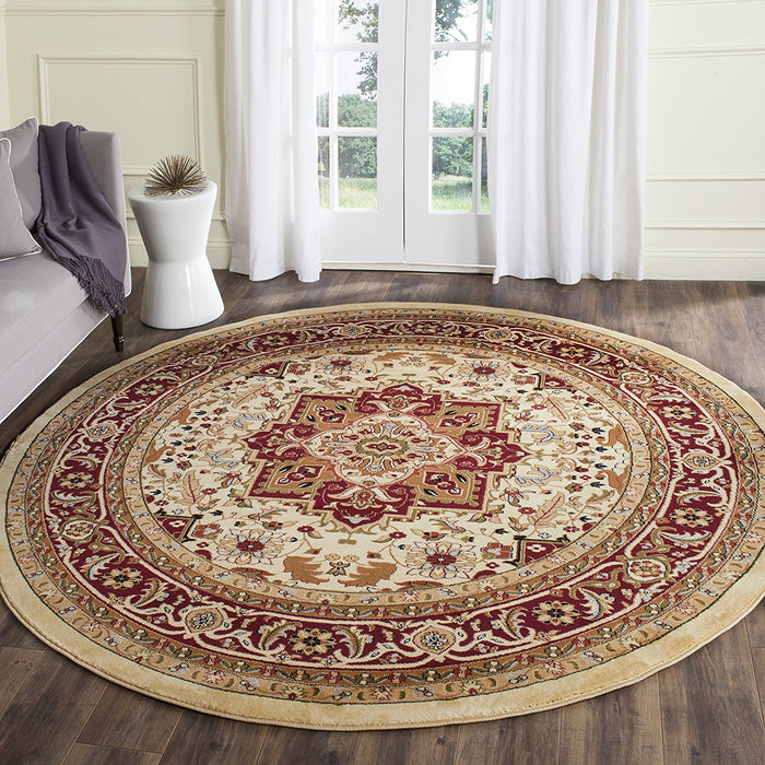 Safavieh Lyndhurst Collection LNH330A Traditional Oriental Medallion Ivory and Red Round Area Rug - @ARFurnitureMart