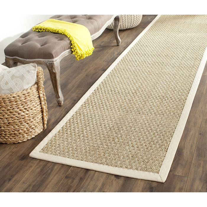 Safavieh Natural Fiber Collection NF114A Basketweave Natural and  Beige Seagrass Area Rug (5' x 8') - @ARFurnitureMart