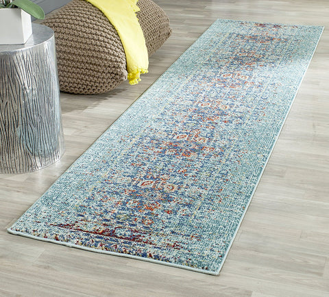 Safavieh Monaco Collection MNC208J Modern Abstract Erased Weave Blue and Multi Distressed Area Rug