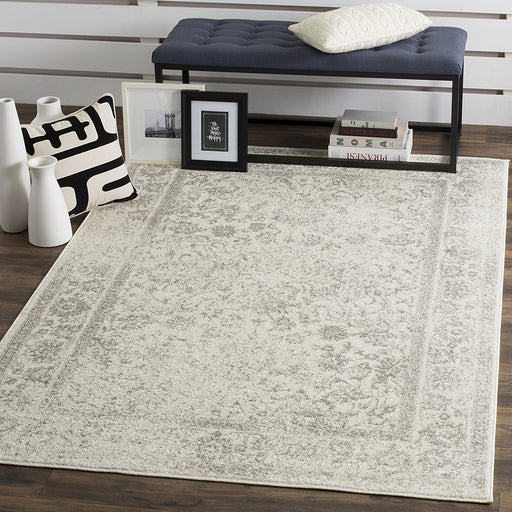 Safavieh Adirondack Collection ADR109C Ivory and Silver Oriental Vintage Distressed Square Area Rug (12' Square) - @ARFurnitureMart