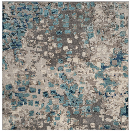 Safavieh Monaco Collection MNC225H Modern Abstract Watercolor Grey and Orange Distressed Area Rug - @ARFurnitureMart